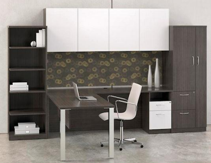 L-Shape Desk w/Open Leg Support, Right Return, Personal Storage Cabinet & Book Shelf Finished in Mocha