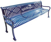 Rust & Graffitti Proof, 8 Foot Steel Ribbon Bench with Arms and Back