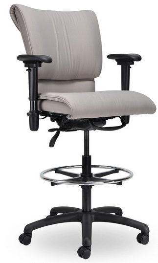 Standing Chair, Pillow Back, Vinyl or Leather, Ergonomic Arms