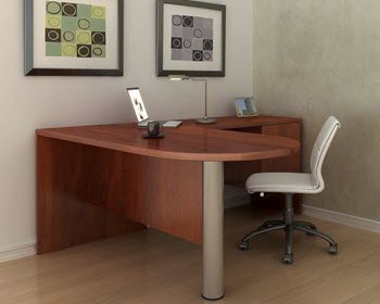 L-Shape D-Top Bullet Desk, w-modesty & File pedestal- Cherry