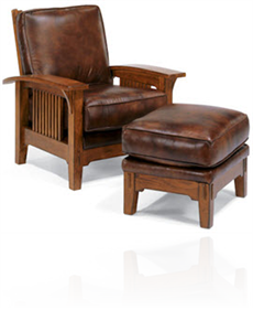 Italian Leather Closed Back Lounge Chair U0026 Ottoman With Arced Mission Style  Wood Arms On Glides