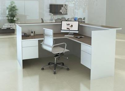 L-Shape Reception Desk with (2) 3/4 Box Files - White Laminate Trim